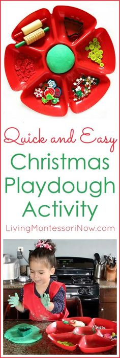 This quick and easy Christmas playdough activity has only 2 ingredients other than food coloring and is simple enough for a 2 year old to do most of the work. Post includes embedded YouTube video, playdough resources, and the Montessori Monday linky collection.