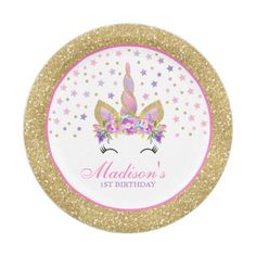 Unicorn Pink And Gold Paper Plate 7 Plates