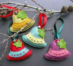 four handmade bell christmas decorations in a gift box by . Handmade Christmas Decorations, Felt Decorations, Felt Christmas Ornaments, Christmas Bells, Christmas Sewing, Christmas Fabric, Christmas Crafts, Felt Ornaments Patterns, Fabric Ornaments