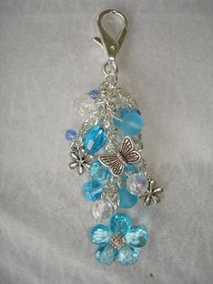 Blue Daisy Crystal Beaded Purse Charm  by GreenInspiredDesigns, $20.00