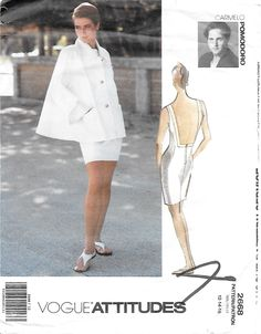 Vogue Attitudes 2668 Carmelo Pomodoro Women's 90s Swing Coat Jacket & Dress Sewing Pattern Size 12, 14, 16 Bust 34, 36, 38 by Denisecraft on Etsy