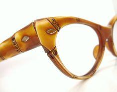 ecfbe217f47fd Vintage 50s Cat Eye Bamboo Sunglasses Frame France Raybert NOS
