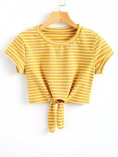 SheIn offers Striped Knot Front Tee & more t. SheIn offers Striped Knot Front Tee & more to fit your fashionable needs. Source by laraxshe - Girls Fashion Clothes, Teen Fashion Outfits, Style Fashion, Fashion Dresses, Yellow T Shirt, Cute Yellow Shirts, Yellow Tees, Yellow Shirt Outfits, Mein Style