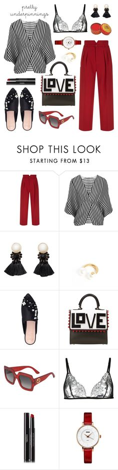 """""""Love"""" by ana-amorim ❤ liked on Polyvore featuring RED Valentino, Etro, MANGO, Gucci, KG Kurt Geiger, Les Petits Joueurs, Carine Gilson, Chanel and prettyunderpinnings"""