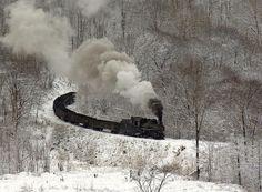 Snow Train on gorge side