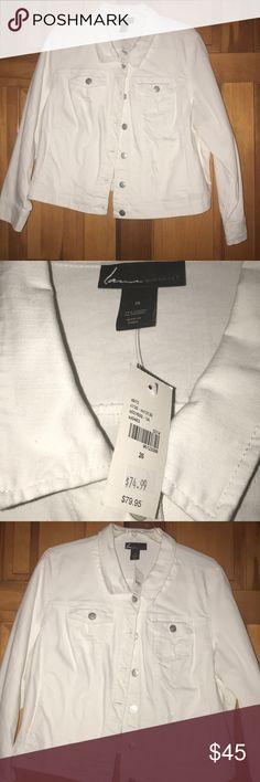 NWT Cute White Jean Jacket! I bought this jacket hoping to wear it and summer in the desert isn't really jacket weather. It's too hot. Now, it's big on me. I hope it finds a nice home! Check out my closet I have many more items! Thank you for sharing and stopping by! 💜🌻 Lane Bryant Jackets & Coats Jean Jackets