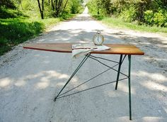 Antique Wooden Ironing Board as a side table