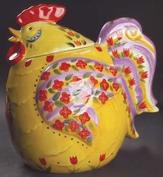 Yellow rooster cookie jar