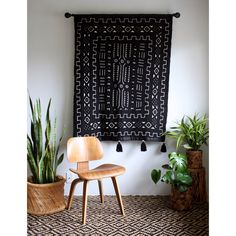 African Wall Hanging, Black Mudcloth, Mud Cloth Wallhanging, African Mudcloth, Pom Pom Throw Blanket, Tassel Tapestry, Bohemian Home Decor by iheartnorwegianwood on Etsy https://www.etsy.com/listing/266448142/african-wall-hanging-black-mudcloth-mud