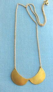 Statement gold brass fashion collar bib necklace, peter Pan necklace.