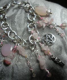 Pentacle Rose Quartz Charm Bracelet with by AtticAntiquesVintage, $35.00