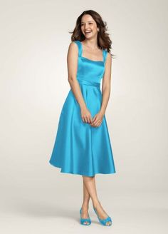 From David's Bridal: Possibly bridesmaid dress, in possibly this color (Malibu) or Pool (lighter shade of blue).