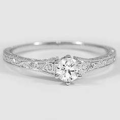 18K White Gold Hudson Ring from Brilliant Earth. - like the detail of the setting, would be stunning with Sapphire