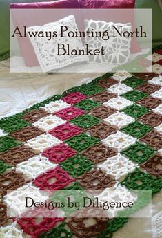 Always  Pointing North Blanket is a quick free crochet pattern for a 3 row Motif that is joined as you go found on Designs by Diligence.