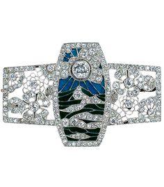 ALBION ART Antique Jewelry |  Art Deco Platinum, diamond, enamel brooch, France c.1925.