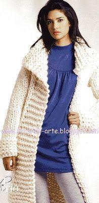 Tecendo Arte-Tricô & Crochê: Casaco longo tricô
