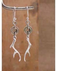 Bullet Casing & Deer Antler Charm Silver Dangle Earrings,