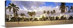 Canvas with Floating Frame entitled Ocean Drive South Beach Miami Beach FL, Brown Florida Sunshine, South Beach Miami, Ocean Drive, Wide Angle, Palm Trees, Clouds, Sky, Canvas Prints, Wall Art