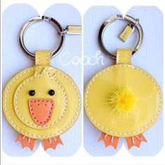 """Cute!! Coach """"Duck"""" Key Ring Keychain  Auth NWT Cute!! Coach """"Duck"""" with Mink Fur Tail~ Key Ring Keychain  Authentic~ NWT Coach Accessories Key & Card Holders"""