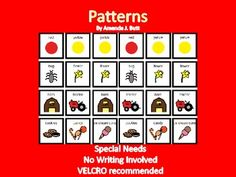 PATTERNS - for Special Needs:  Early Grades; Autism - No writing involved!  Use of Velcro recommended!