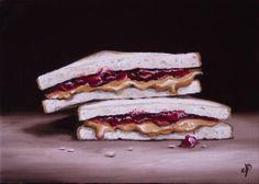 PB&J Sandwich, J Palmer Daily painting Original oil still life