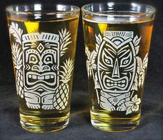 Hey, I found this really awesome Etsy listing at https://www.etsy.com/listing/549425725/new-2-tiki-pint-glasses-hawaiian-style