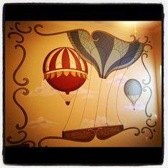 Vintage Hot Air Balloon mural in a client's nursery. #watsonmurals #mural #nursery #baby #babyroom #vintagenursery #hotairballoon
