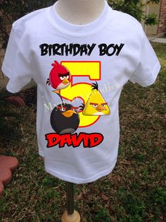 Angry birds birthday shirt personalized angry by Mypartygoodies