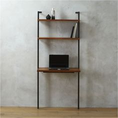 Shop helix acacia desk.   All the right angles for all the right stuff.  Three fixed acacia veneer shelves stained a warm midtone brown ladder a squared metal tube frame powdercoated carbon.