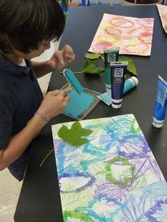 In this project, students combined and layered painting and printing techniques using fall leaves as the subject. Students chose an analogou...