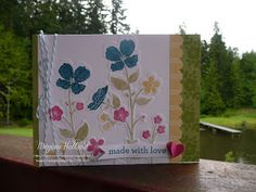 I am excited to show you one of my cards using the Wildflower Meadow Stamp and Embossing Folder. These coordinat. Wild Flower Meadow, Wild Flowers, Embossing Folder, Stampin Up Cards, I Card, Stamping, Card Ideas, Paper Crafts, Gift Wrapping