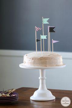 Cinnamon & Sugar Cake ~ really I like the cake topper flags!
