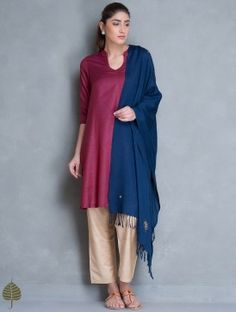 Fuchsia Silk Cotton Kurta by Jaypore