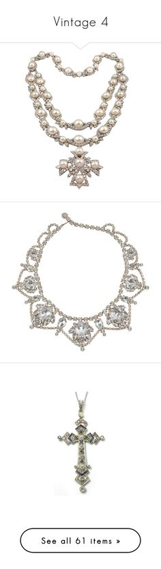 """""""Vintage 4"""" by kaitie ❤ liked on Polyvore featuring jewelry, necklaces, accessories, colar, jewels, pearl jewelry, pearl necklace, jewel necklace, diamond jewelry and diamond jewellery"""