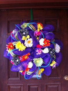 Spring/Summer Floral Deco Mesh Wreath