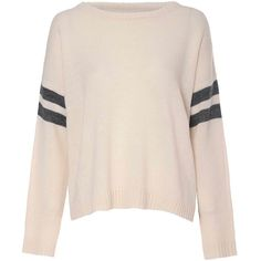 Cream Knit Stripe Jumper (2.190 RUB) ❤ liked on Polyvore featuring tops, sweaters, shirts, long sleeves, cream, long-sleeve shirt, pink sweater, pink shirts, pink long sleeve shirt and pink button down shirt