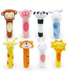 2017 nuovo giocattolo del bambino sonaglio bibi bar animali squeaker toys infantile burattino di mano illuminismo plush doll 8 disegno kf983