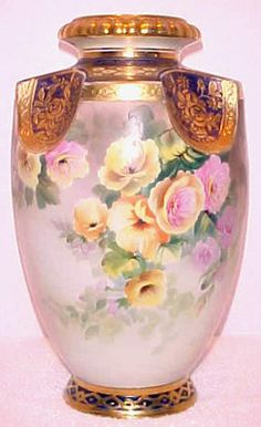 Large Hand Painted Nippon Old Noritake Floral Vase | eBay