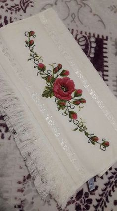This Pin was discovered by Füs Monogram Cross Stitch, Cross Stitch Rose, Cross Stitch Borders, Modern Cross Stitch Patterns, Cross Stitch Flowers, Cross Stitch Designs, Cross Stitching, Embroidery Flowers Pattern, Silk Ribbon Embroidery