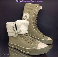 997b8cbebbe9 Converse All Star womens X HI Trainers Sz 6 Khaki Suede Fold Down Combat  Boot 39