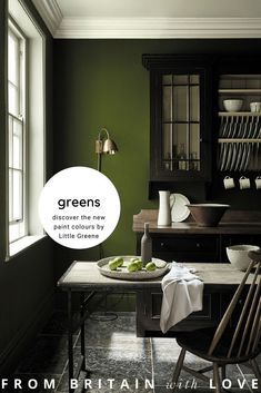 Little Greene wall paint. Dark green brings peace and depth to the kitchen - . Little Greene wall paint. Dark green brings peace and depth to the kitchen – … Little Greene Wandfarbe. Dunkles Grün bringt Ruhe und Tiefe in die Küche – w… 0 Source by Olive Green Paints, Sage Green Paint, Green Paint Colors, Kitchen Paint Colors, Room Colors, Dulux Paint Colours 2019, Dark Colors, Green Painted Walls, Dark Green Walls