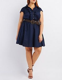 331471be8e54e Plus Size Belted Ruffle-Front Skater Dress  Charlotte Russe