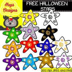 Halloween FREE Stars Cliparts Set for Personal and Commercial Use by Hugs Designs