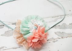 Georgia Peach - headband in peach, light coral pink, mint, aqua and white by SoTweetDesigns on Etsy