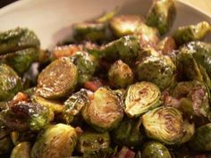 Ina Garten Balsamic Roasted Brussels Sprouts #Pancetta is good once in a while! :)