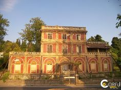Mansion Villa Rossa: The old mansion of Villa Rossa started construction in 1864 by the painter Nicholas Aspioti . Ιt is a gem in the rich collection of Corfu . The ar. Corfu Island, Corfu Greece, Greece Islands, Villa, Old Things, Europe, Mansions, House Styles, Places