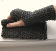 Fingerless Gloves Crocheted Charcoal Grey by RoseJasmine on Etsy, $14.00