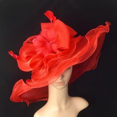 Red Kentucky Derby Hat with big Bow and Feather Flower,Derby Hat,Dress Hat Wedding Hat Wide Brim Hat Tea Party Hat Ascot by theoriginaltree on Etsy https://www.etsy.com/listing/492758640/red-kentucky-derby-hat-with-big-bow-and