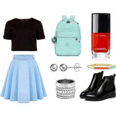 A fashion look from May 2016 by airladysory featuring Ted Baker, WithChic, Kipling, Tory Burch, Henri Bendel, Journee Collection и Chanel
