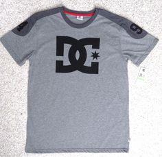 New$30 Mens(Lrg) DC SHOE CO 94 T-SHIRT 2-tone-Gray&Black Short-Sleeve Skateboard #DCShoes #EmbellishedTee